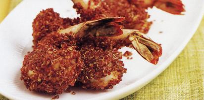 Peruvian Quinoa Shrimp Chicharrones with Green Aji Sauce