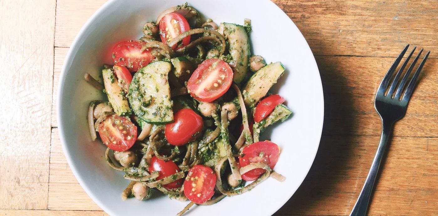whole grain pasta tossed with pesto