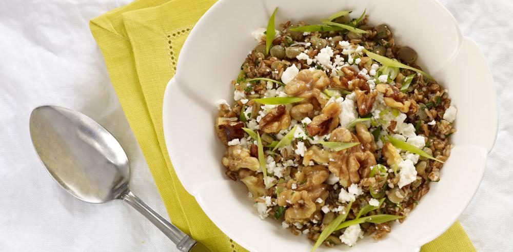 Bulgur Salad with Green Lentils and Walnuts