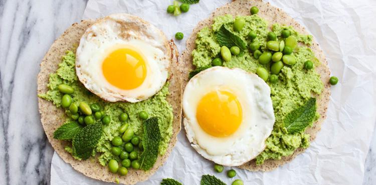 Edamame Sweat Pea Egg Breakfast Tortillas