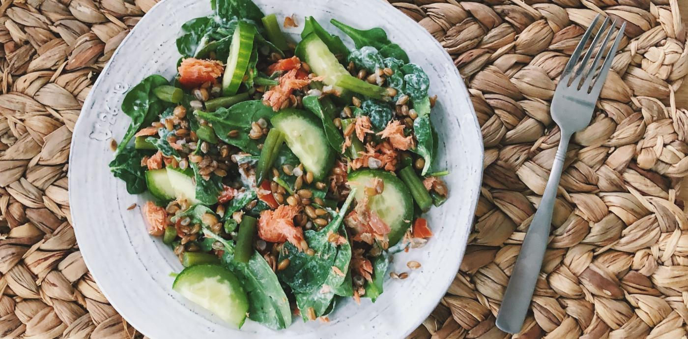 salad with rye berries and salmon