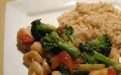 Sprouted Rice Shrimp Stir Fry