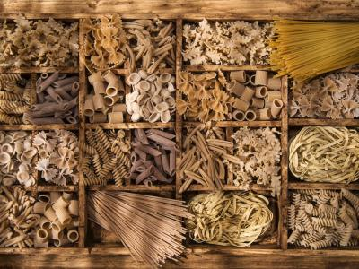 Assorted dry whole grain pastas