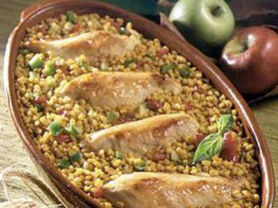 Chicken with apples and barley