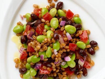 Black Bean Edamame Wheatberry Salad