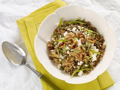 Bulgur Salad with Green Lentils and Walnuts