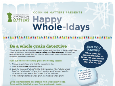Happy Whole-idays worksheet from Cooking Matters