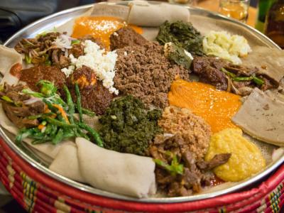 Plate of Injera with stews and sauces