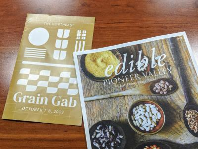Two flyers, one for Grain Gab and one for Edible Boston regional grain issue