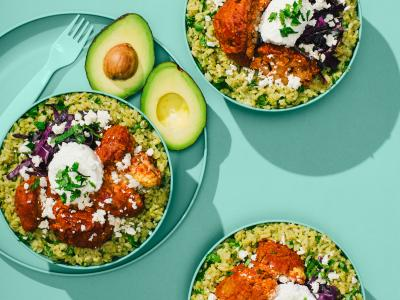 Green Rice Bowl with Buffalo Cauliflower