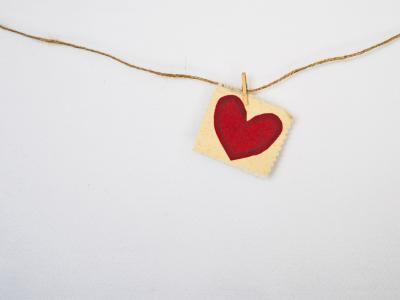 Heart Pendant Pinned on rope