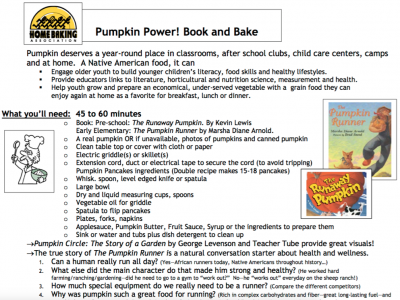 Pumpkin Power Book and Bake Activity from the Home Baking Association