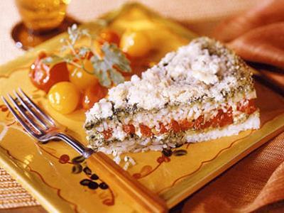 Layered Pesto Rice Bake