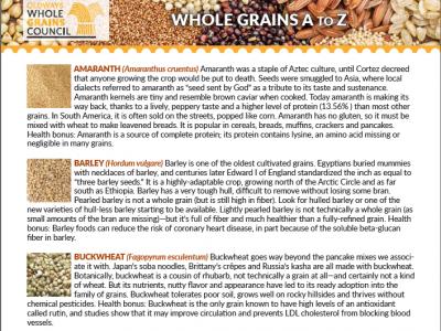 description of different whole grains