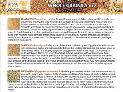 description of different whole grains