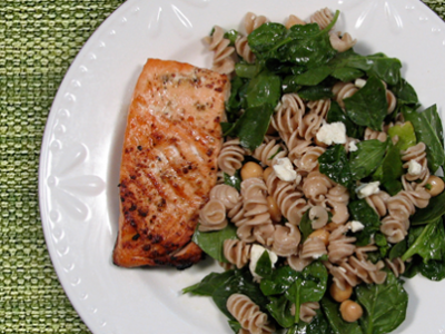 Salmon with Chickpea Spinach Salad