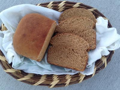 Loaf of sprouted bread in a basket