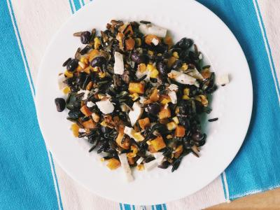 Wild rice salad with corn, butternut squash, and black beans
