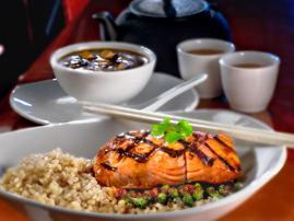 PF Chang's Salmon Bowl with brown rice