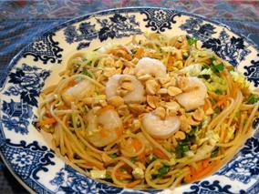 Thai Shrimp Salad made with Whole Grain Pasta