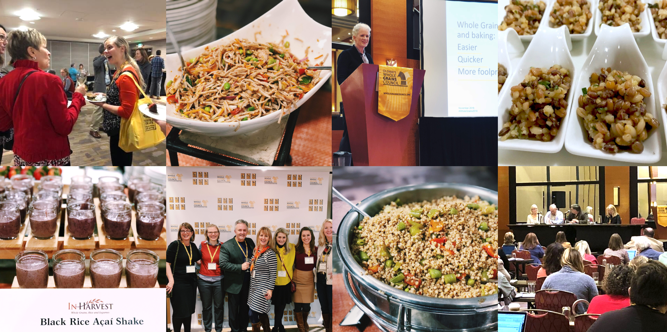 photos of food and attendees from the 2018 Whole Grains Council conference
