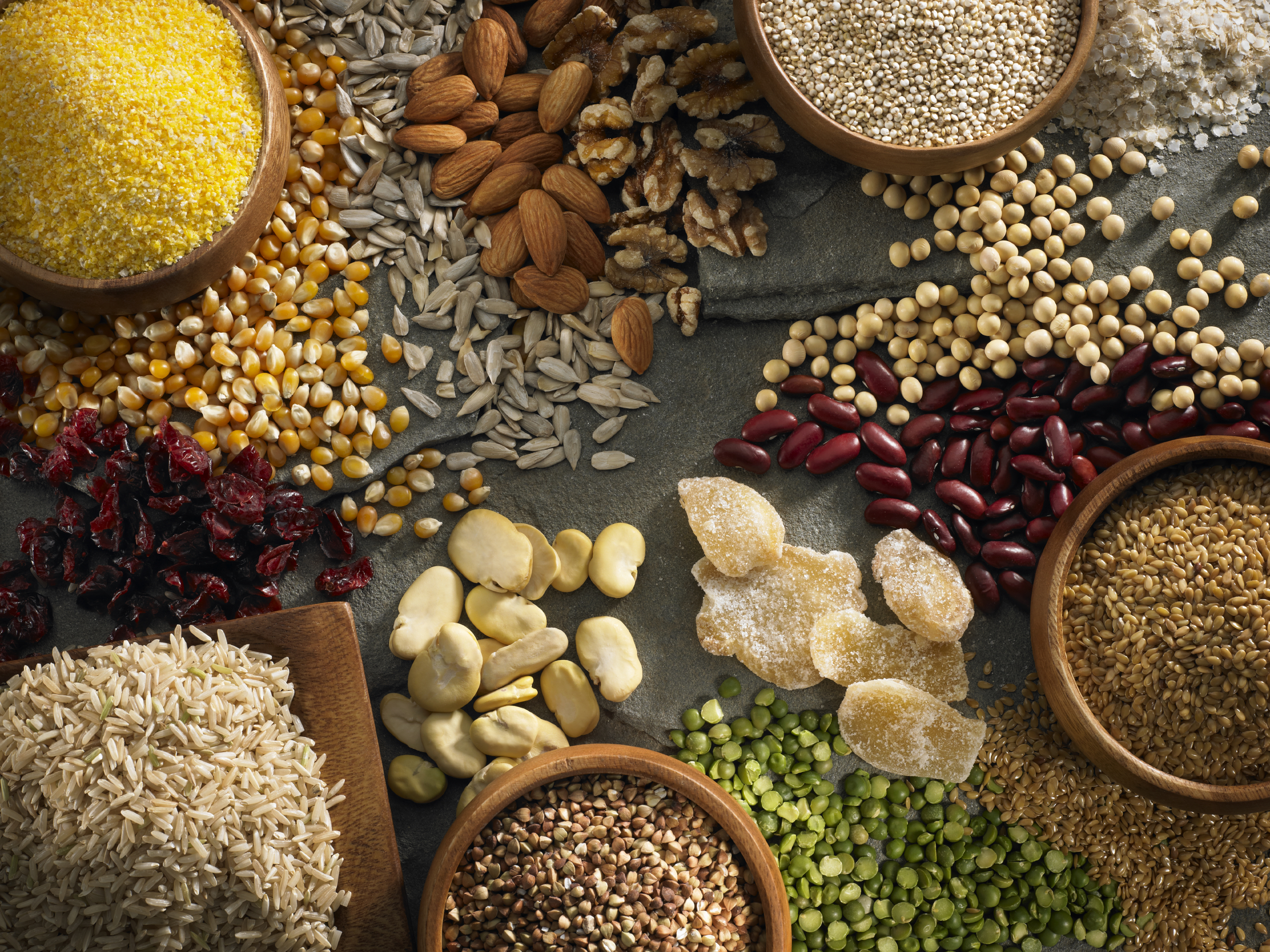 Assorted grains, beans, and seeds