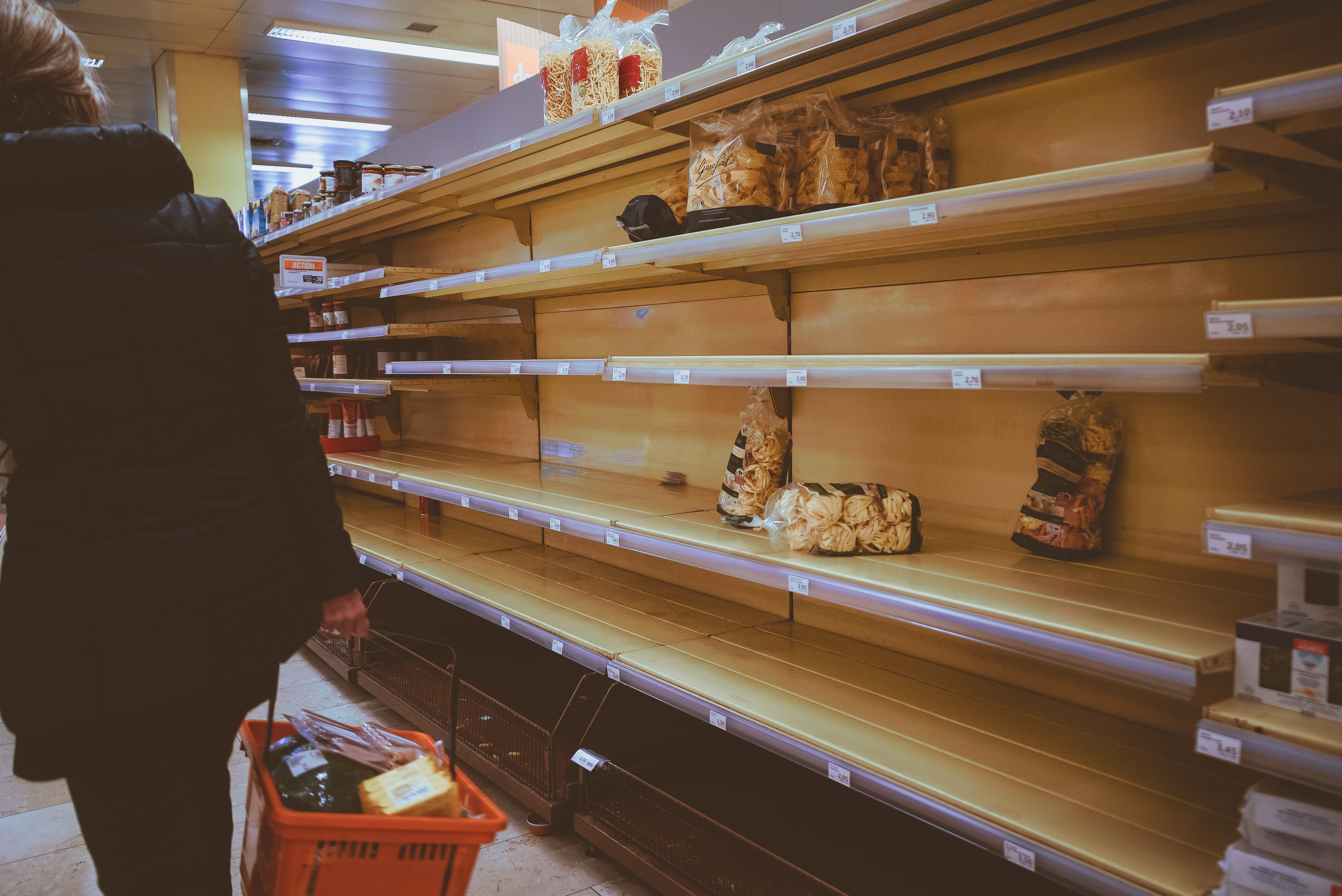 Empty Bread Shelves at Grocery Store