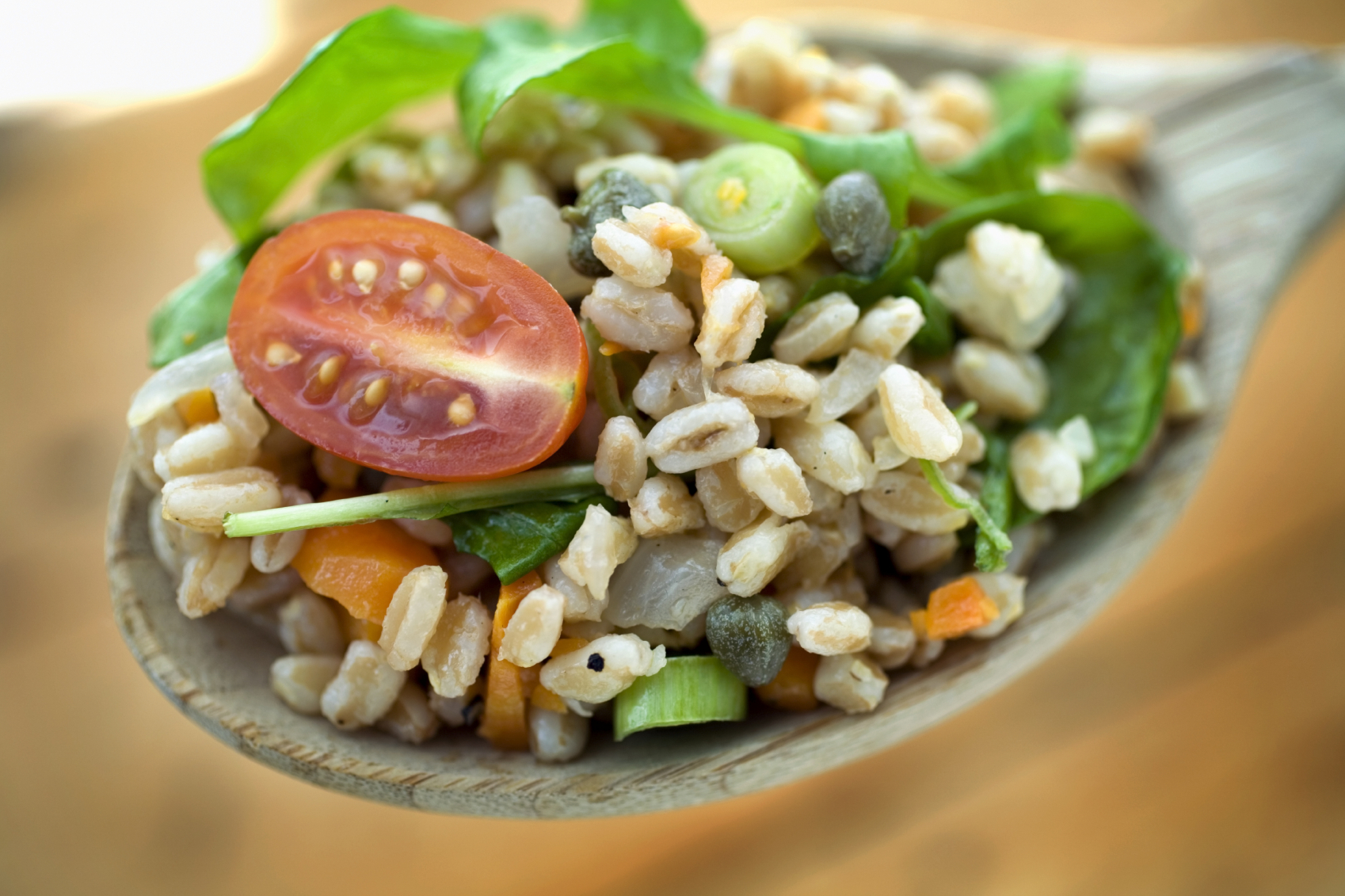 A spoonful of farro salad