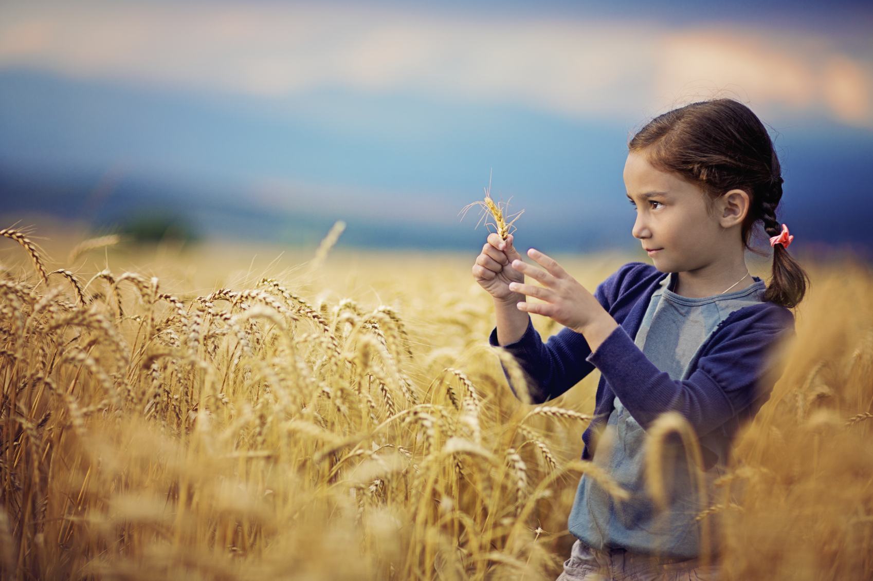 Girl with Pink Ribbon in field of wheat