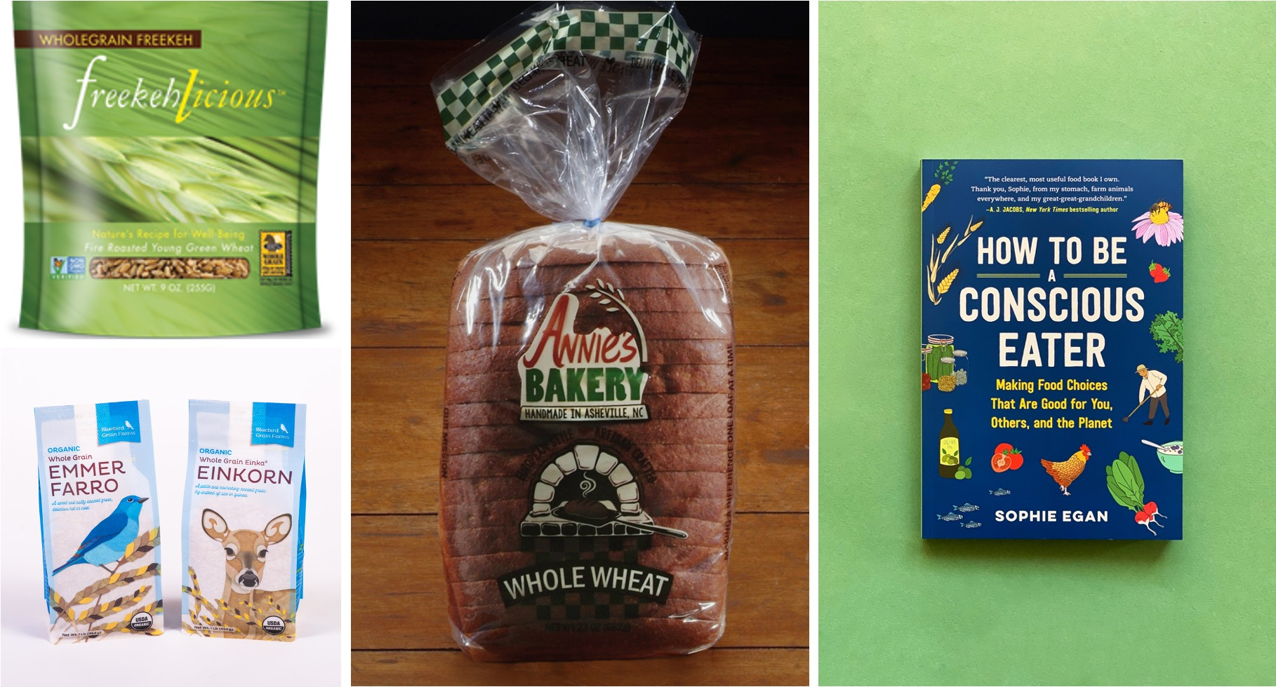 Examples of some of the prizes: intact grains, bread, a book