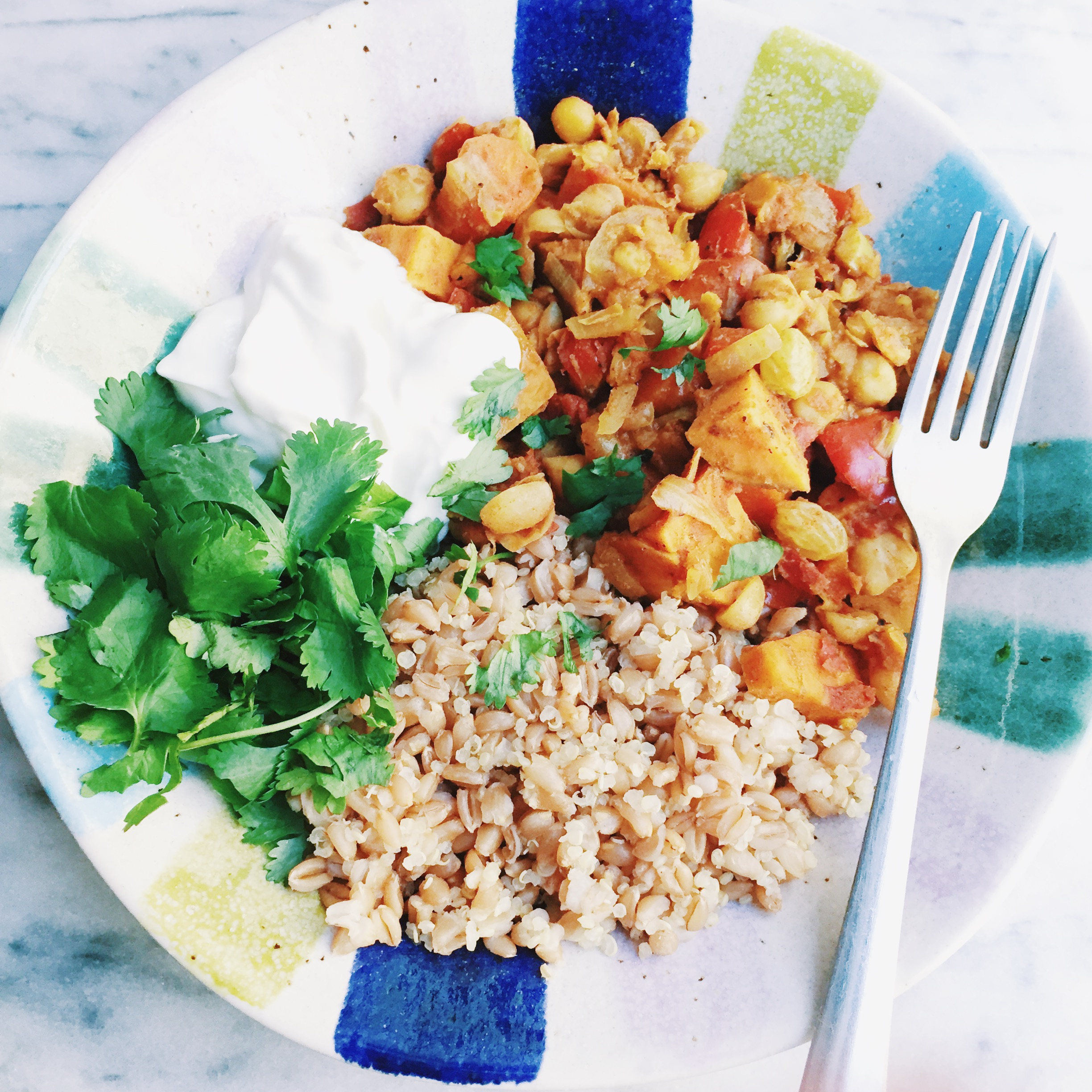 curry with farro and quinoa