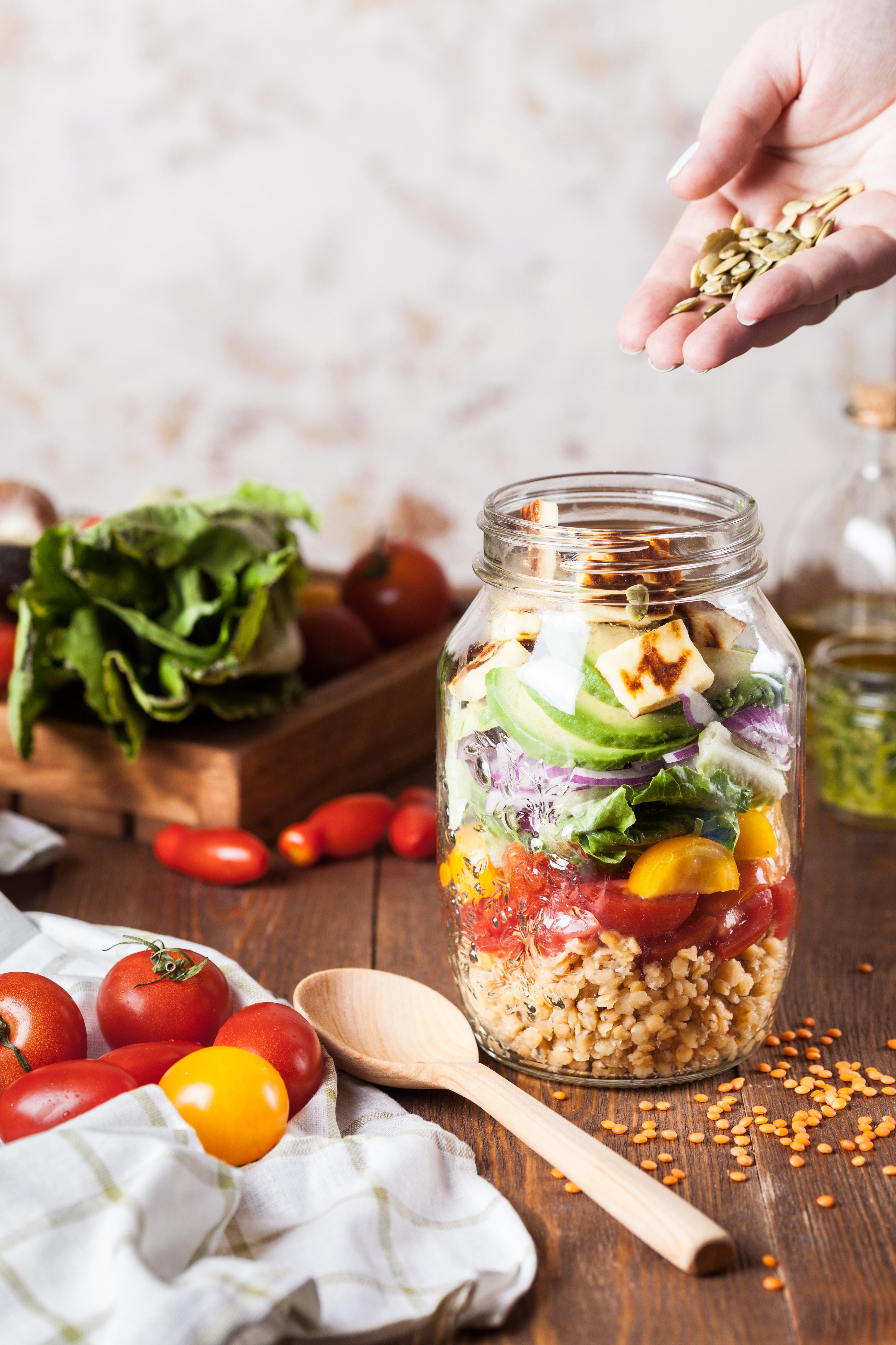 mason jar salad with whole grains