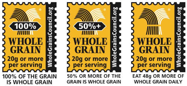 picture of all three Whole Grain Stamp types