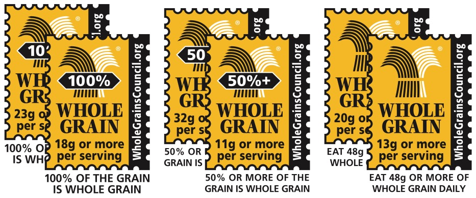 Examples of the three types of Whole Grain Stamp