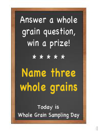 chalkboard with whole grain trivia questions