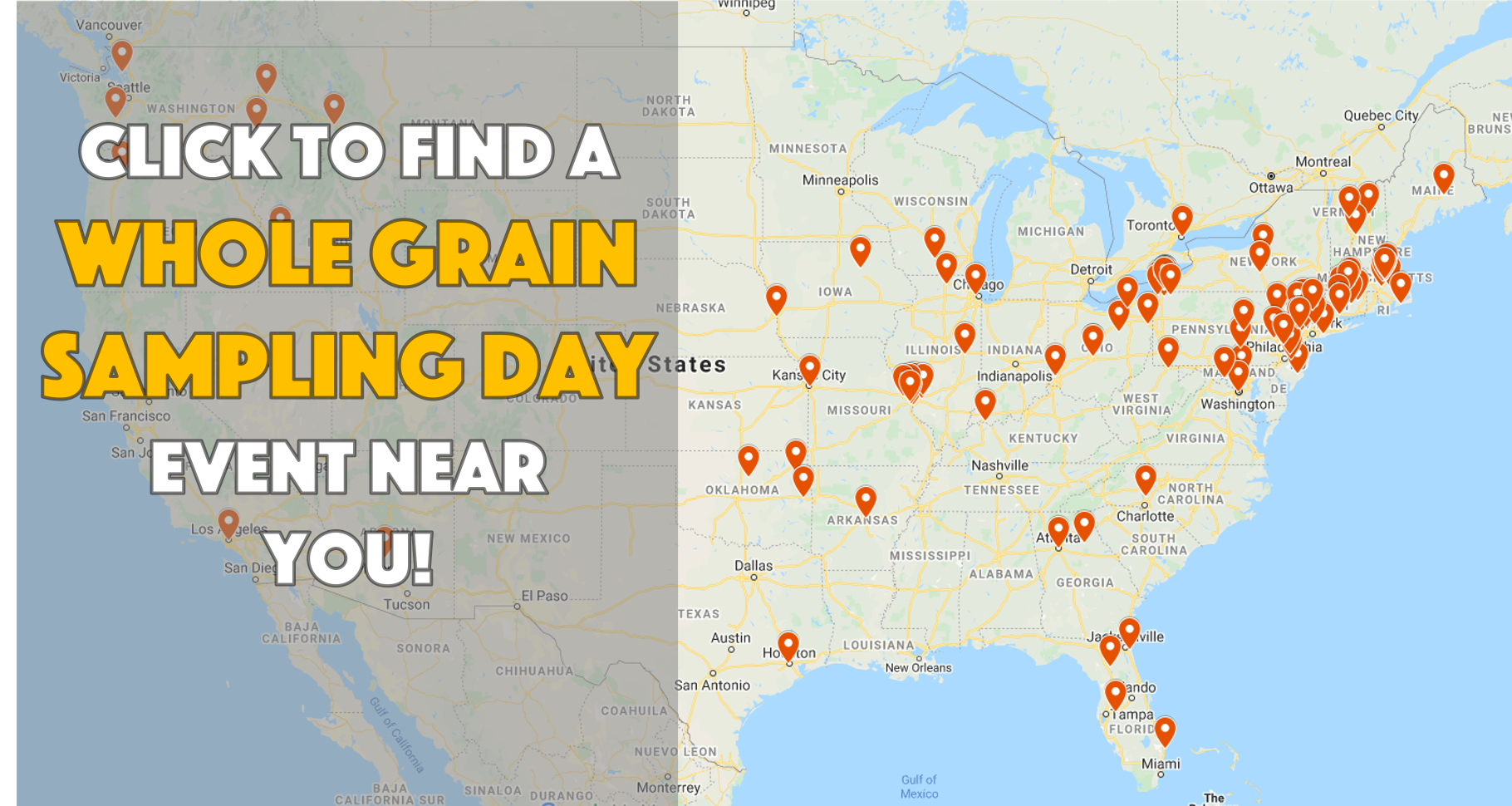 Whole Grain Sampling Day 2020 Map