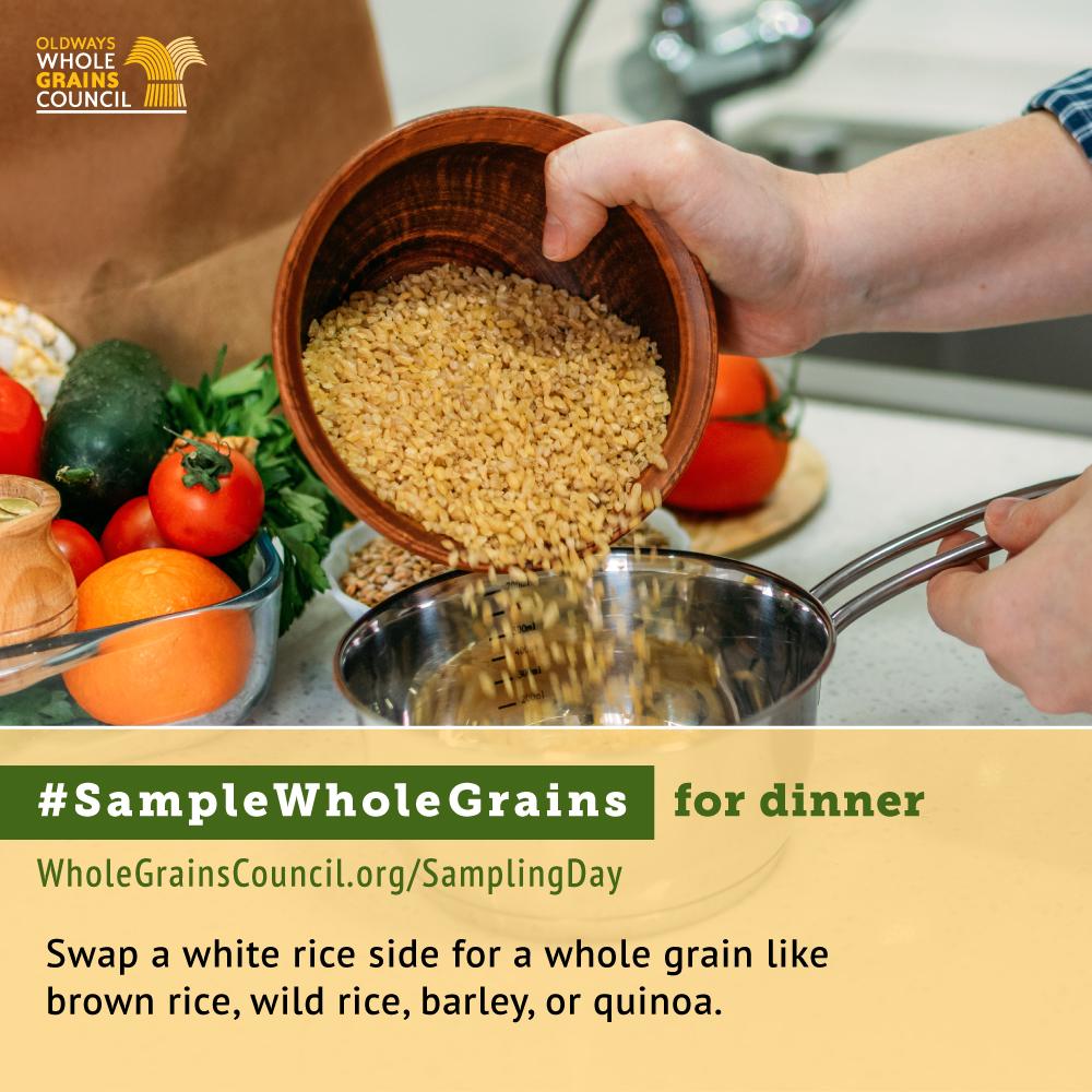 #SampleWholeGrains for Dinner photo of brown rice