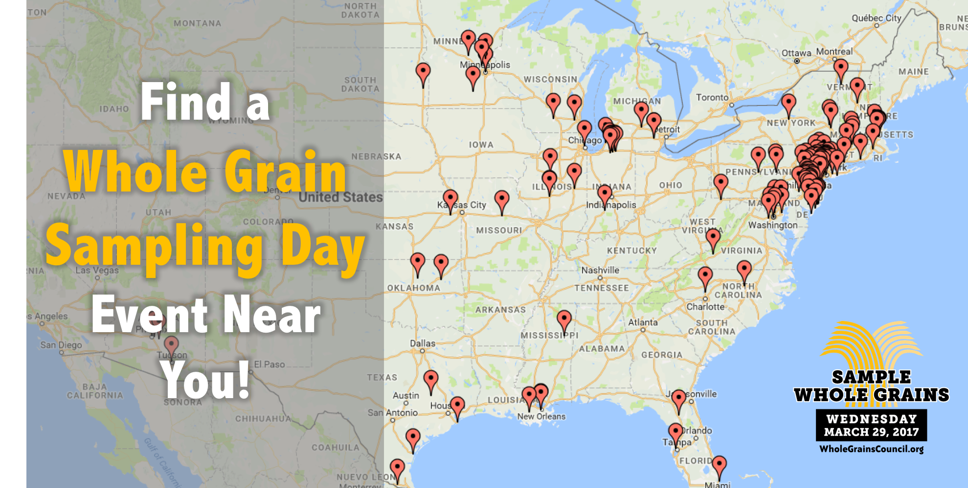 map of Whole Grain Sampling Day participants