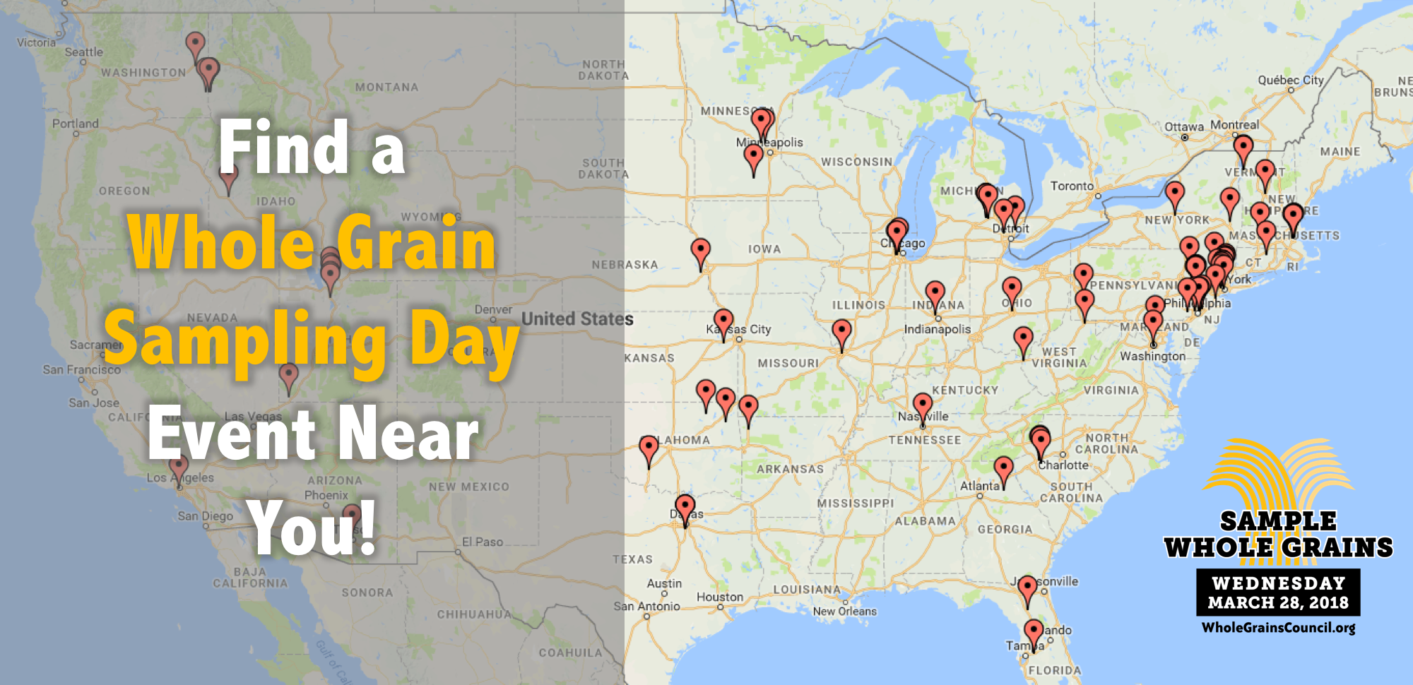 map of Whole Grain Sampling Day events