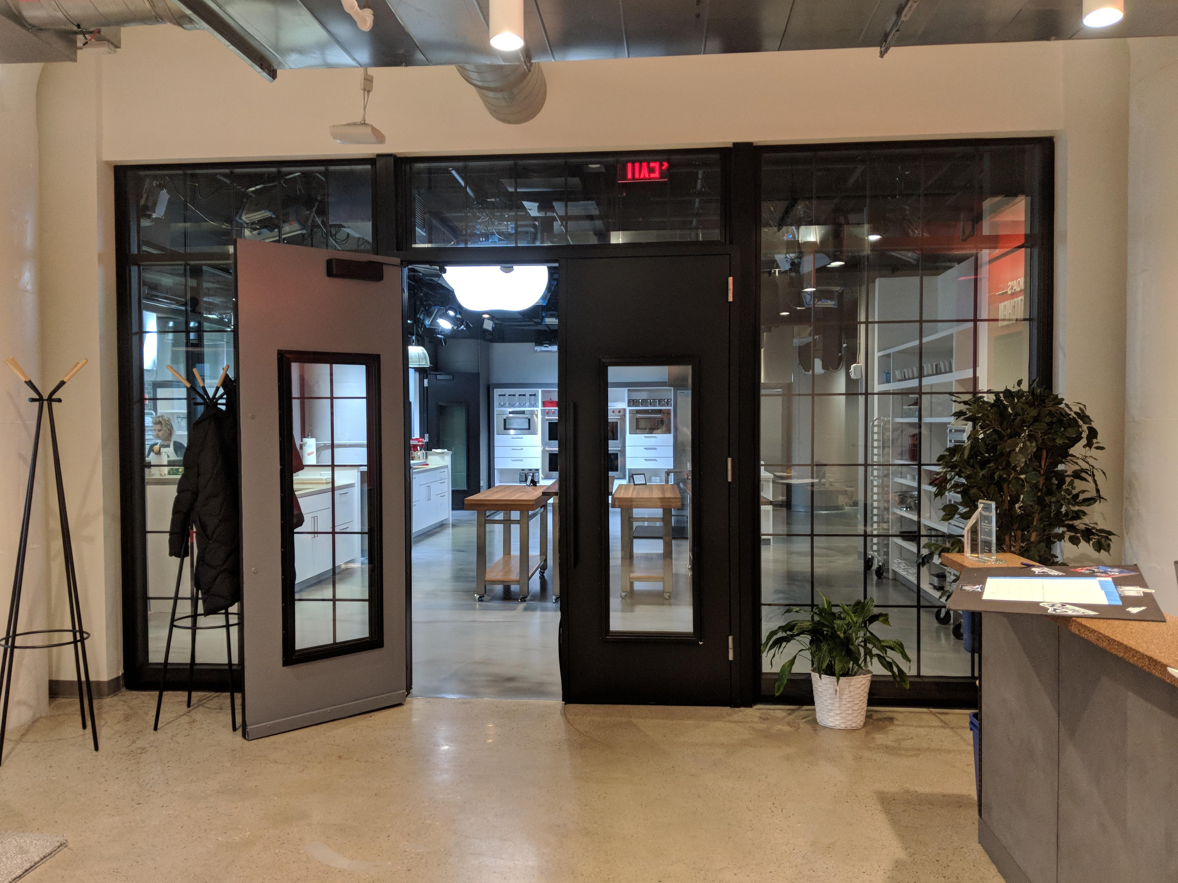 Open front doors to office
