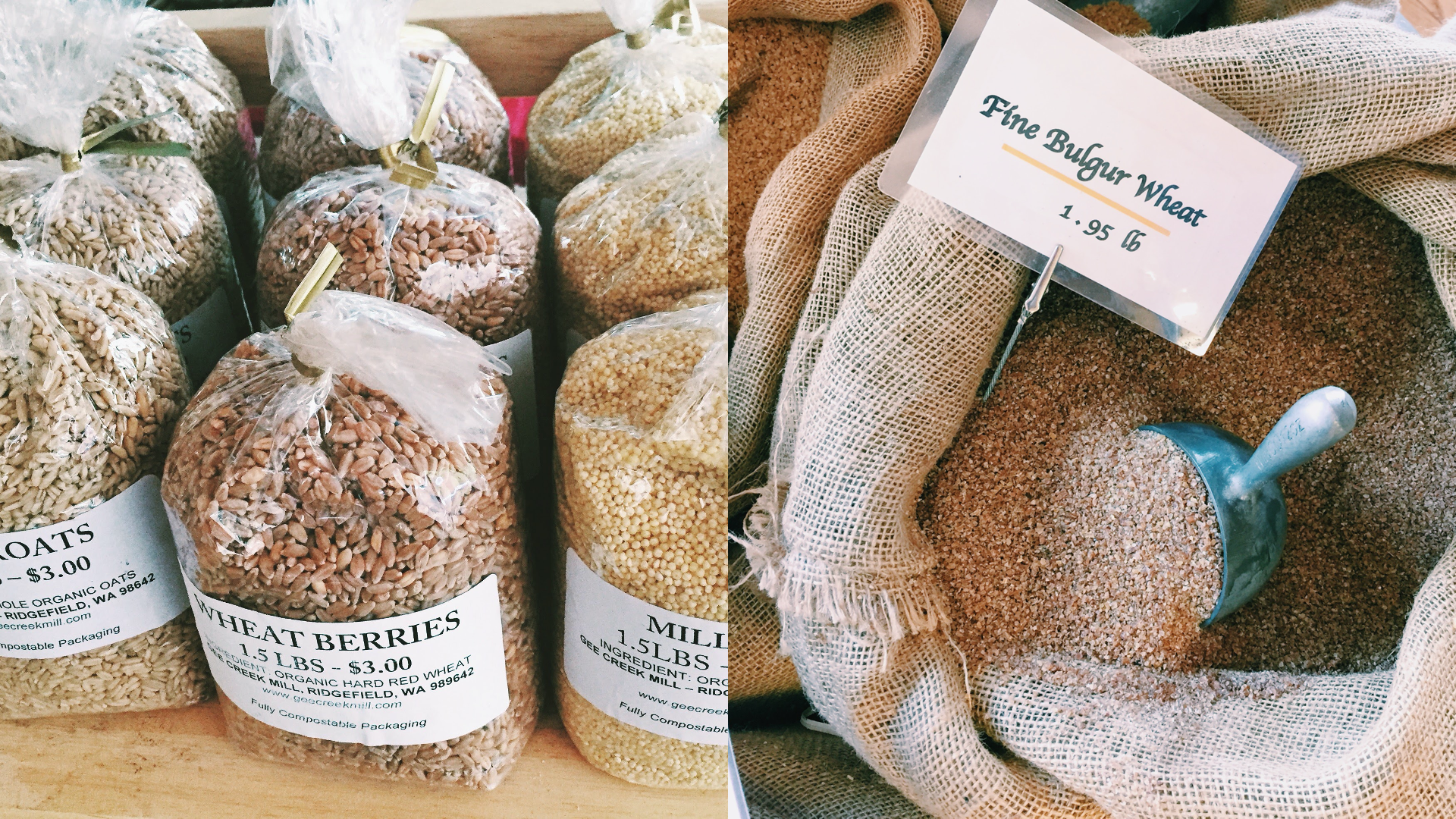a photo of plastic bags of wheat berries at a farmers market next to a photo of a burlap bag of bulgur wheat