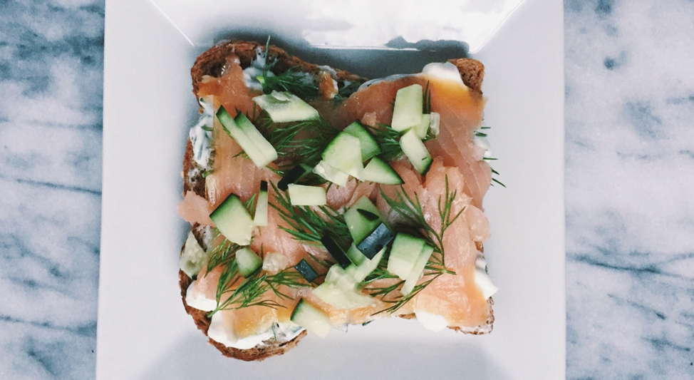 Whole Grain Toast with Yogurt, Dill, Smoked Salmon, & Cucumbers