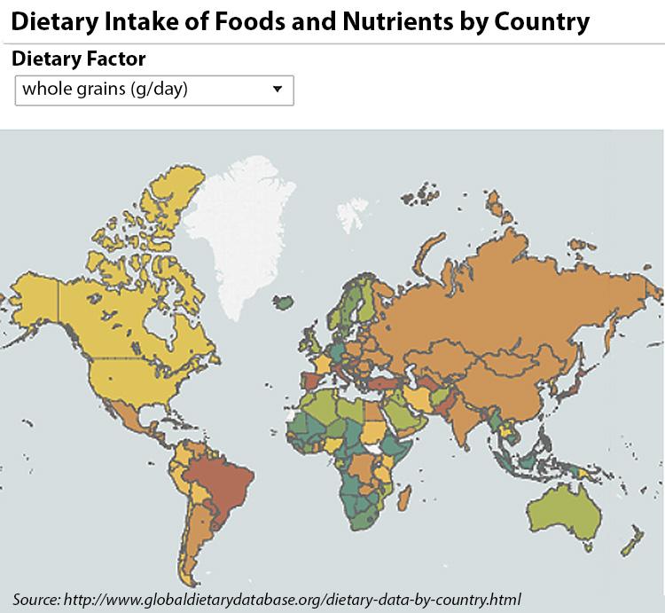 World Map Whole Grain Consumption
