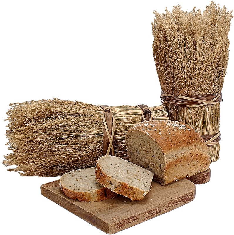 Bundles of wheat and loaves of bread