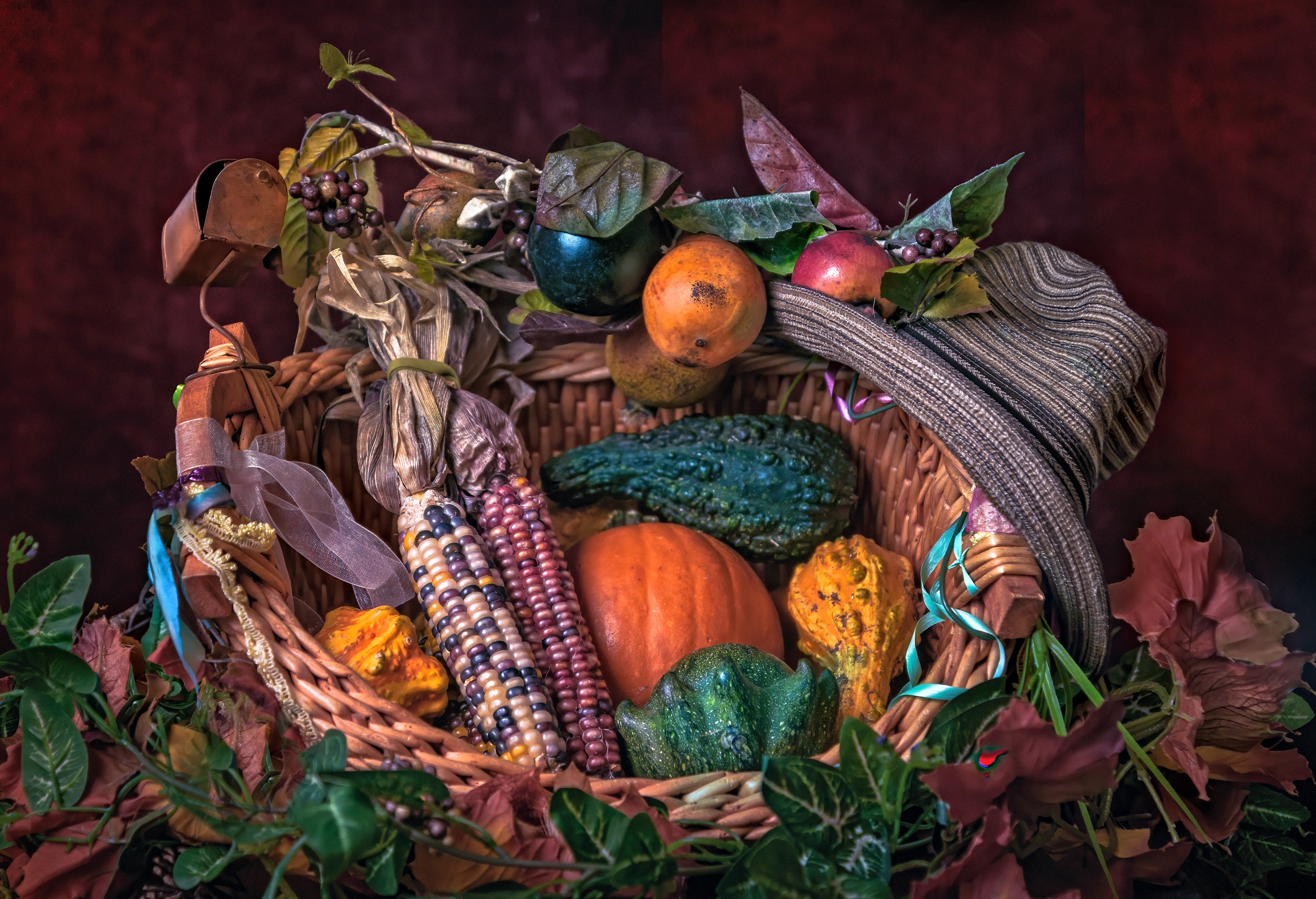 colorful corn and squash in festive basket