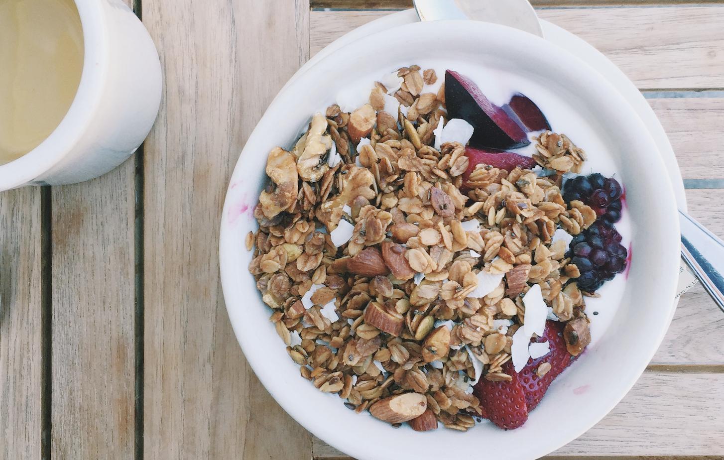 granola parfait on a table