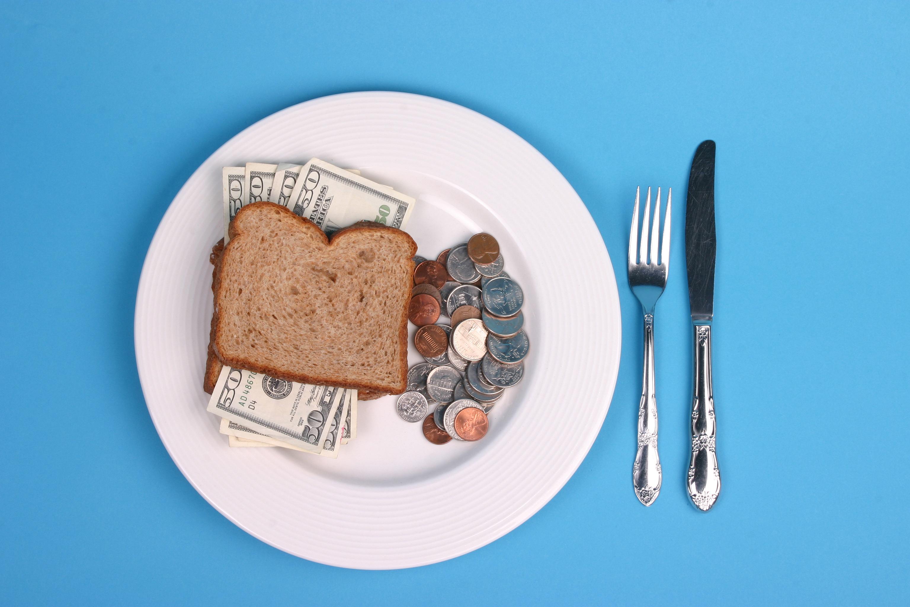 whole grain sandwich full of money