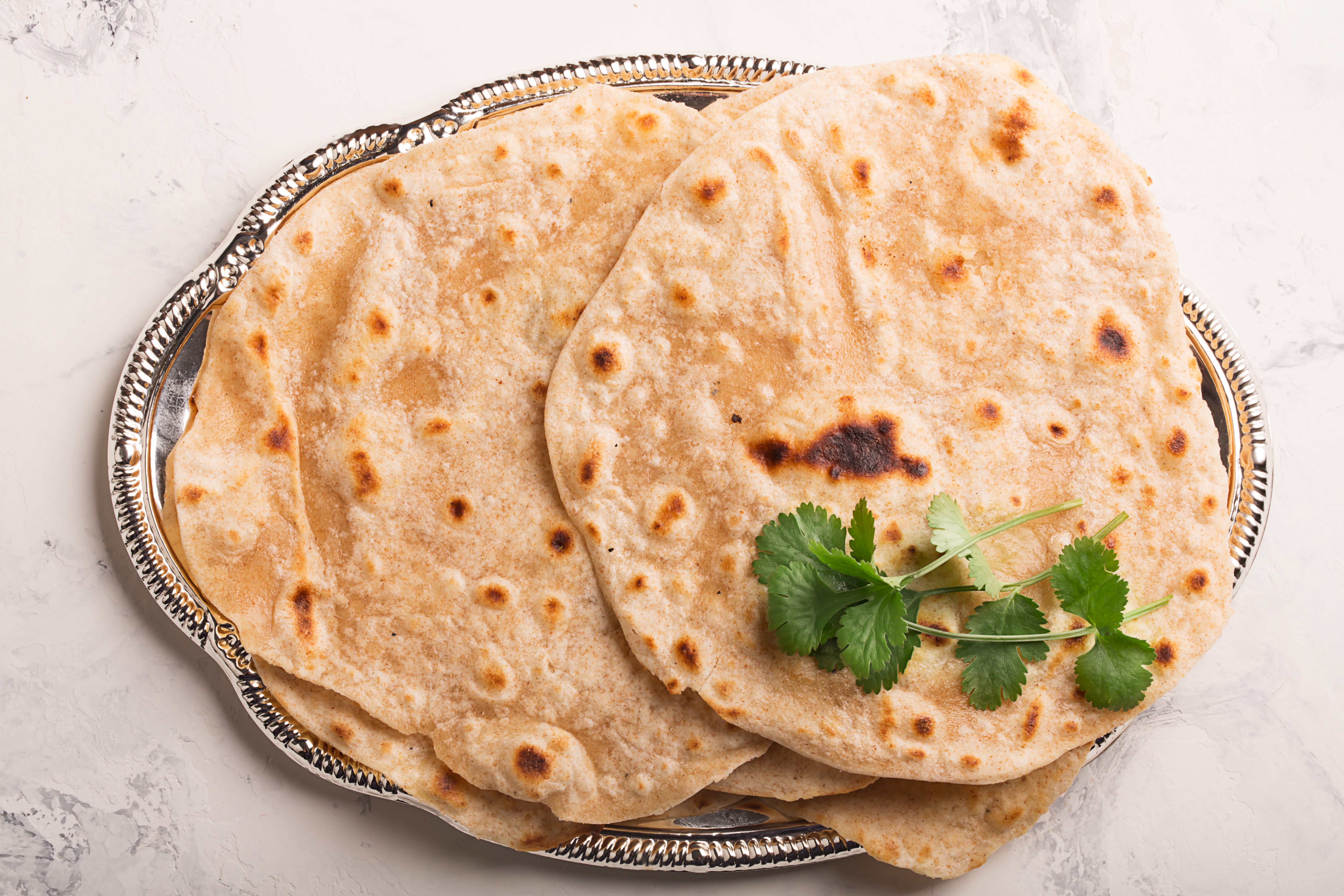 A plate of whole wheat chapattis