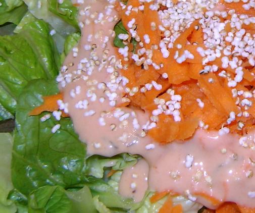 Popped amaranth on salad