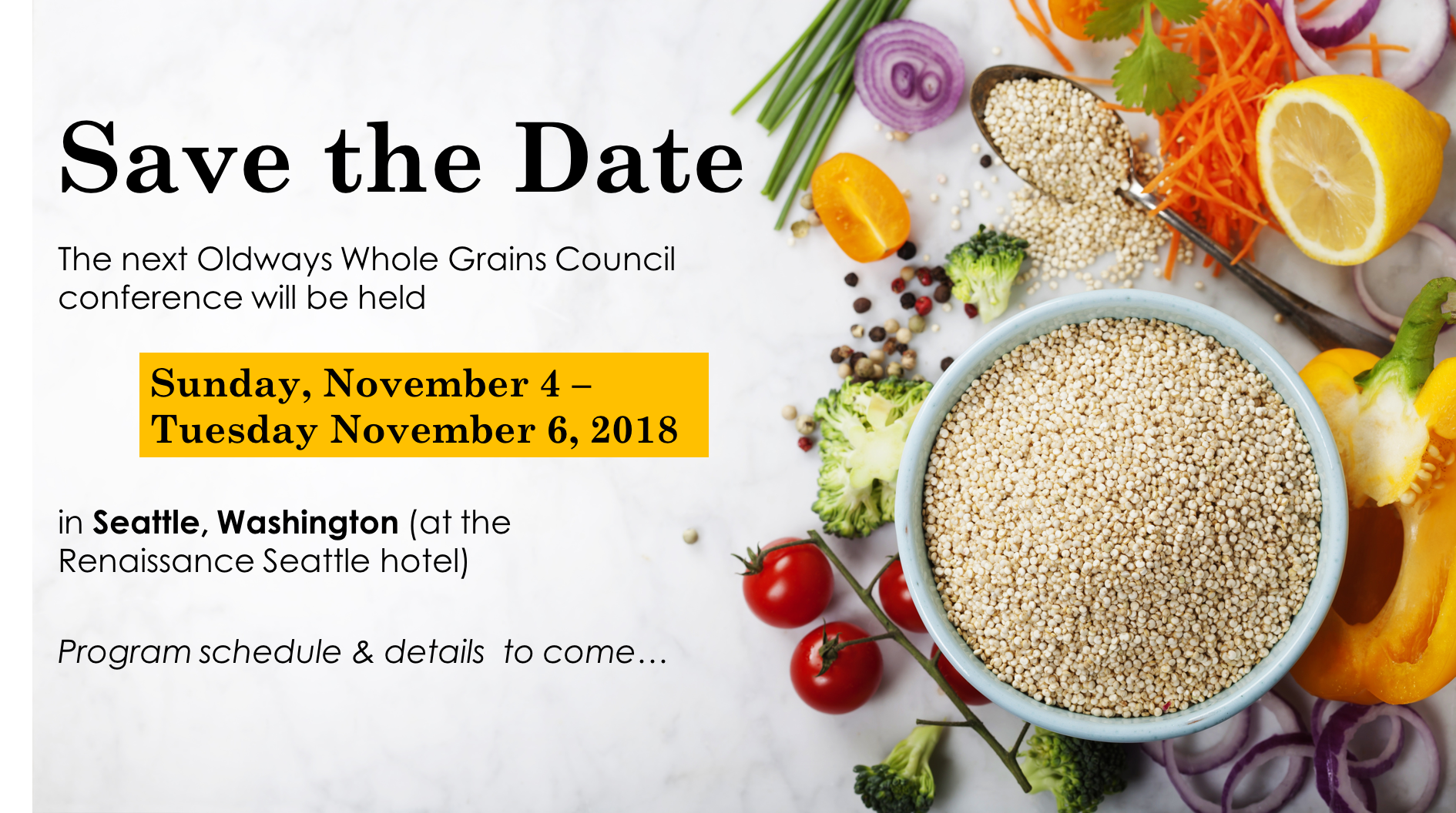save the date for the next WGC conference, November 4-6, 2018